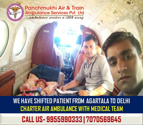 AIR AMBULANCE SERVICE FROM AGARTALA TO DELHI-PANCHMUKHI AIR AMBULANCE