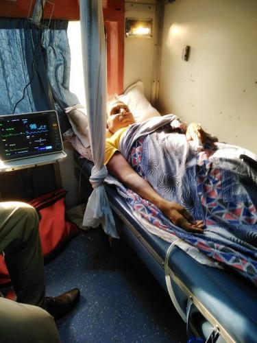 Panchmukhi Train Ambulance from Delhi with ICU Setup