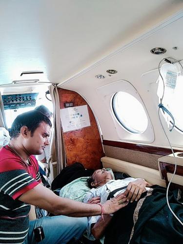 Panchmukhi Charter Air Ambulance with medical staff